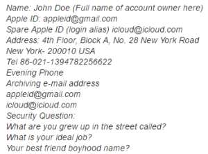 iCloud Contact Information Service