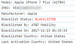 Sample of IMEI Blacklist status check report